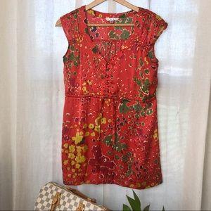 CAbi Red Floral Print Top
